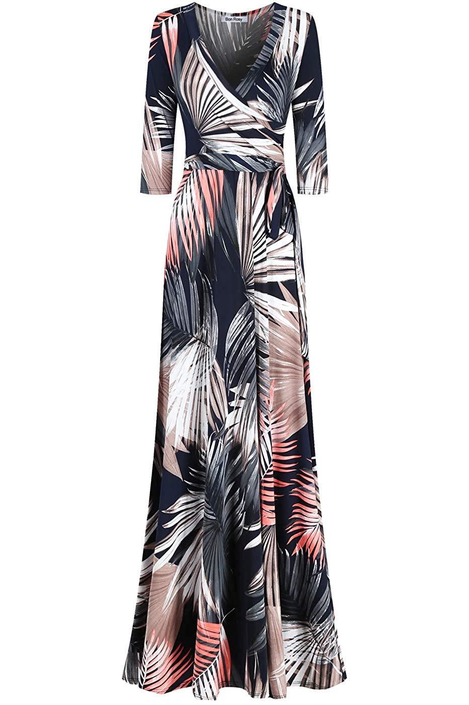 Amazon Com Bon Rosy Women S Madeinusa 3 4 Sleeve V Neck Printed Maxi Faux Wrap Floral Dress Clothing Printed Maxi Dresses Floral Dress [ 1400 x 932 Pixel ]