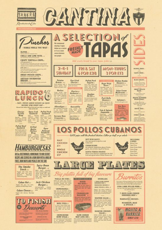 Cuban food menu design tapas bar menu graphic design by for Tapas menu template