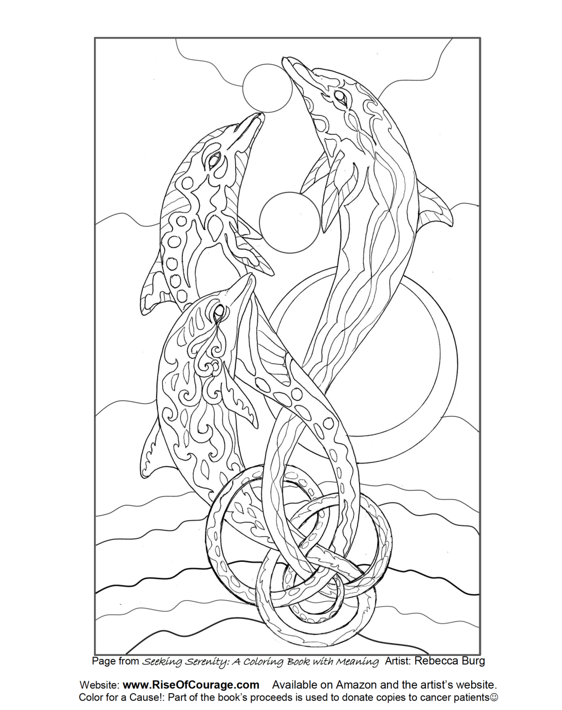 Free coloring pages dolphins - Free Coloring Page Dolphin Ocean Sea Life From The Seeking Serenity Adult Coloring Book By Rebecca