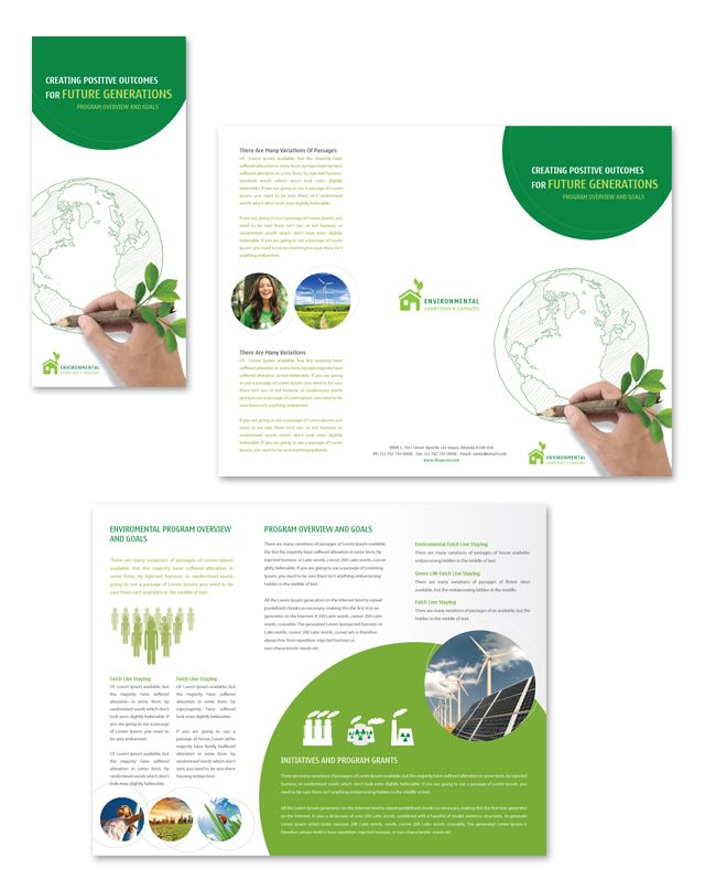 Environmental Protection Tri Fold Brochure Template With Images
