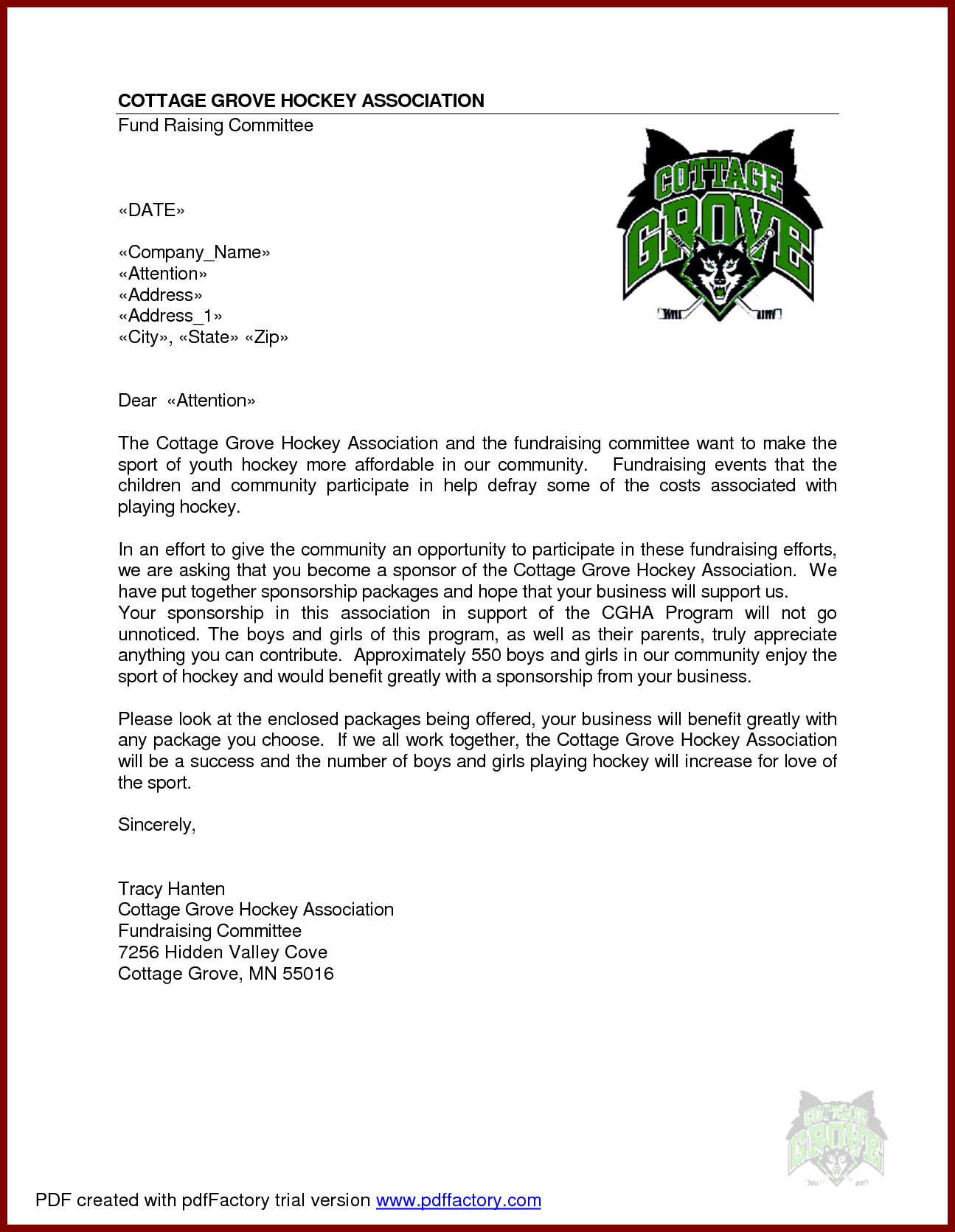 Sample Sponsorship Letter For Event Cover Proposal Template