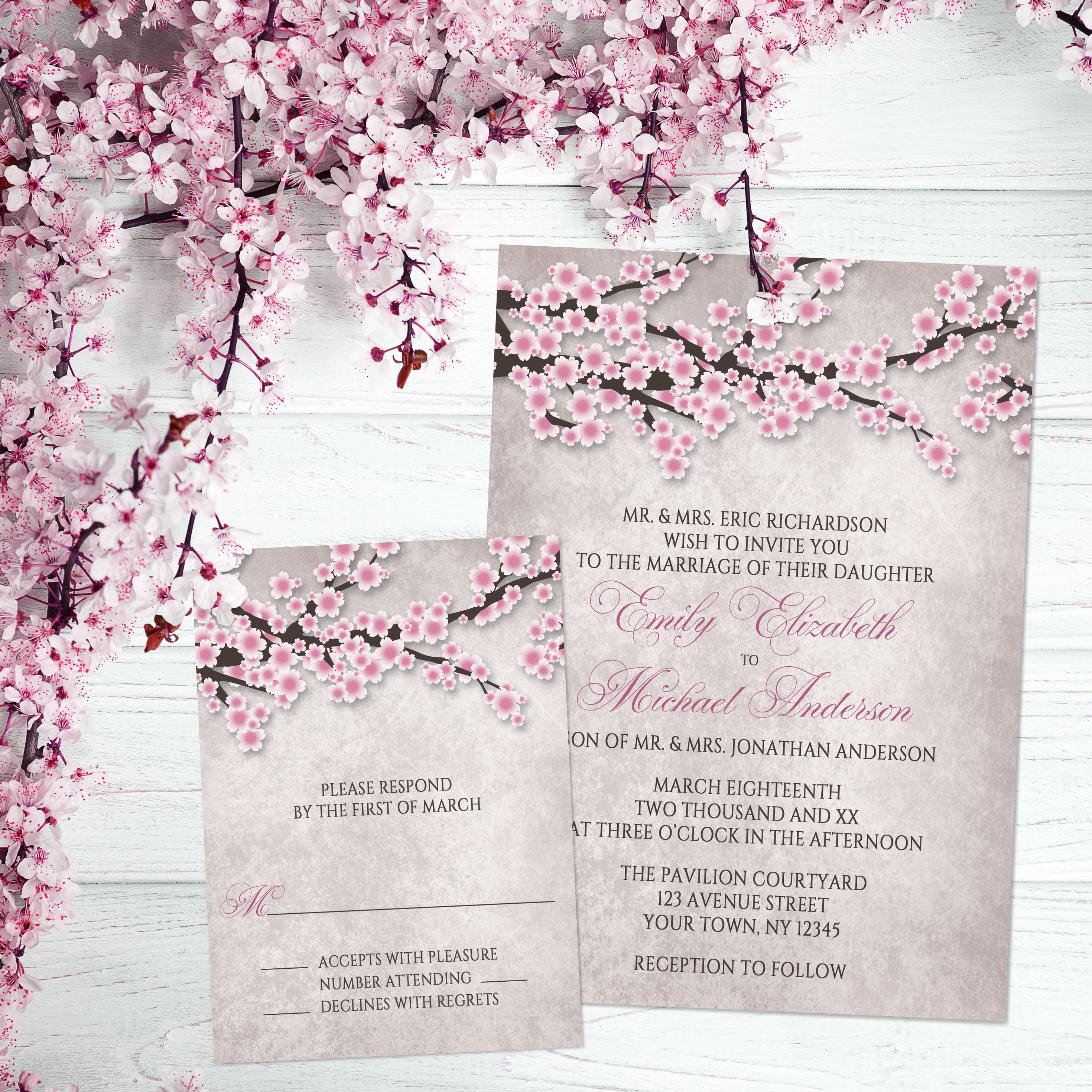 Start Your Spring Wedding Ping Now With This Rustic Abstract Cherry Blossom Invitation Set