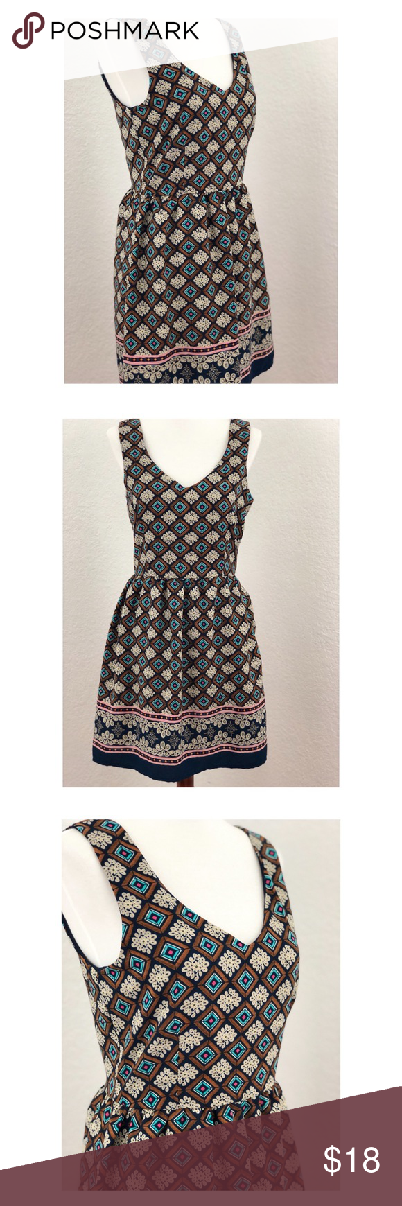 One clothing sleeveless dress xs teal zip and navy