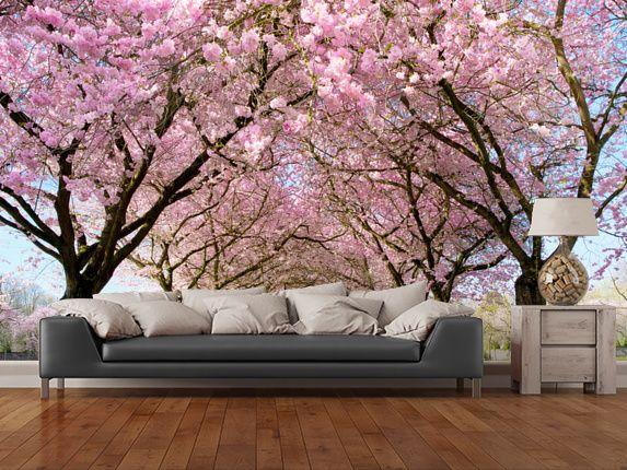 Cherry Blossom Trees Wall Mural Room Setting