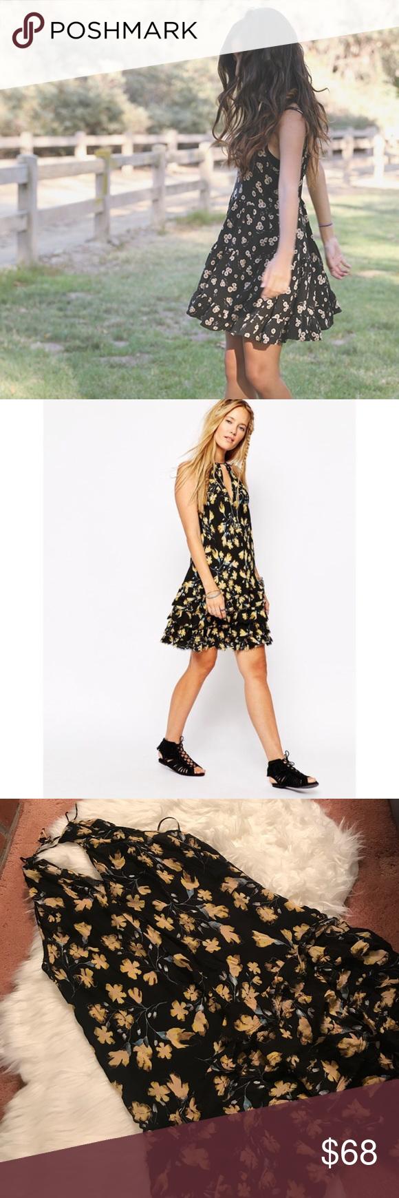 Nwt Free People Black Floral Tiered Mini Dress Dresses Mini Dress Pretty Dresses [ 1740 x 580 Pixel ]