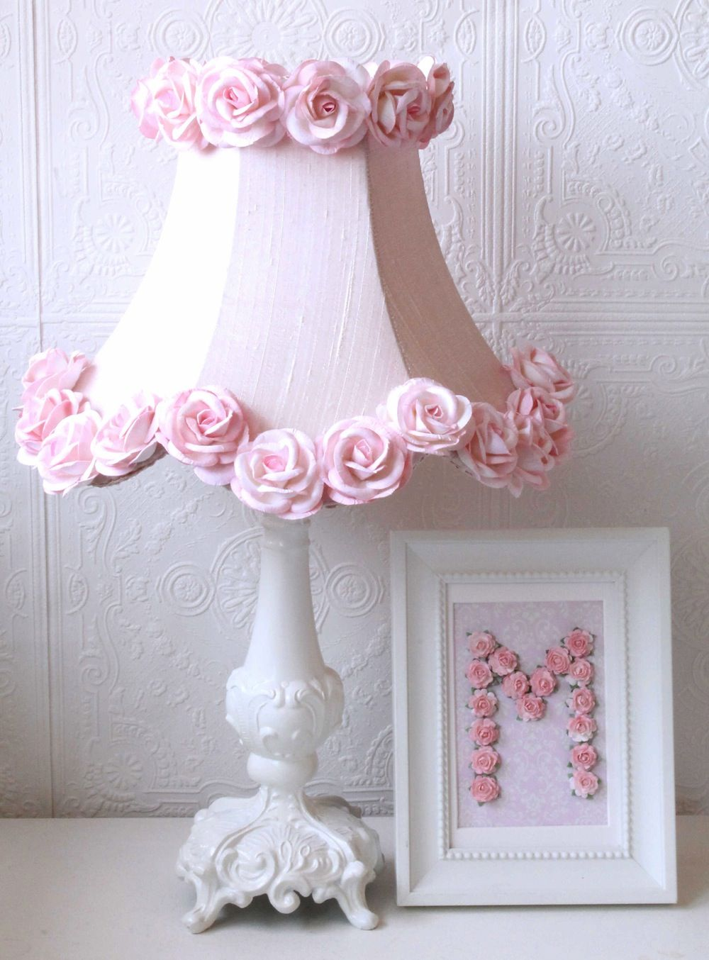 Pink Dupioni Silk And Roses Table Lamp Vintage Lighting Kids Nursery Chandeliers Lamps Shabby Chic A Vinta