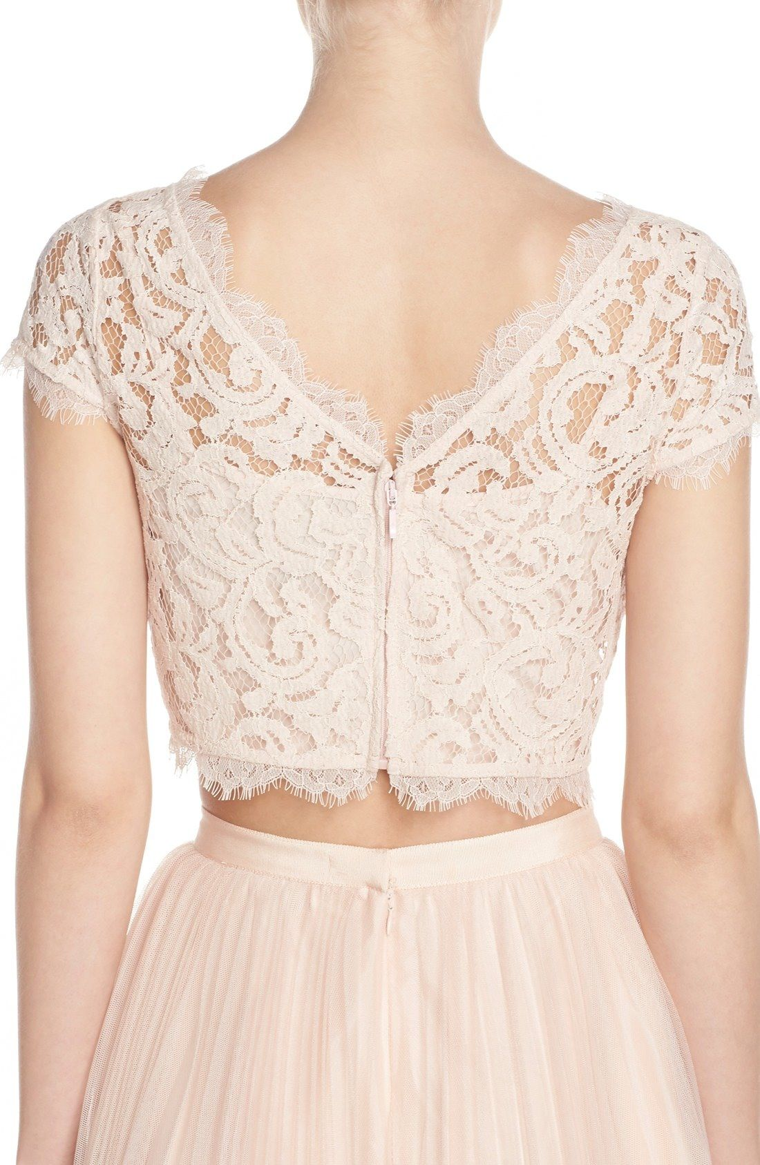 aaaea60ae7 Lace Crop Top & tulle skirt in blush by Adrianna Papell   Classy ...