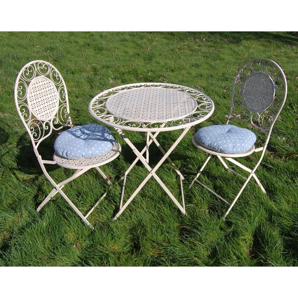 Bisto set folding table chairs garden patio yard round metal