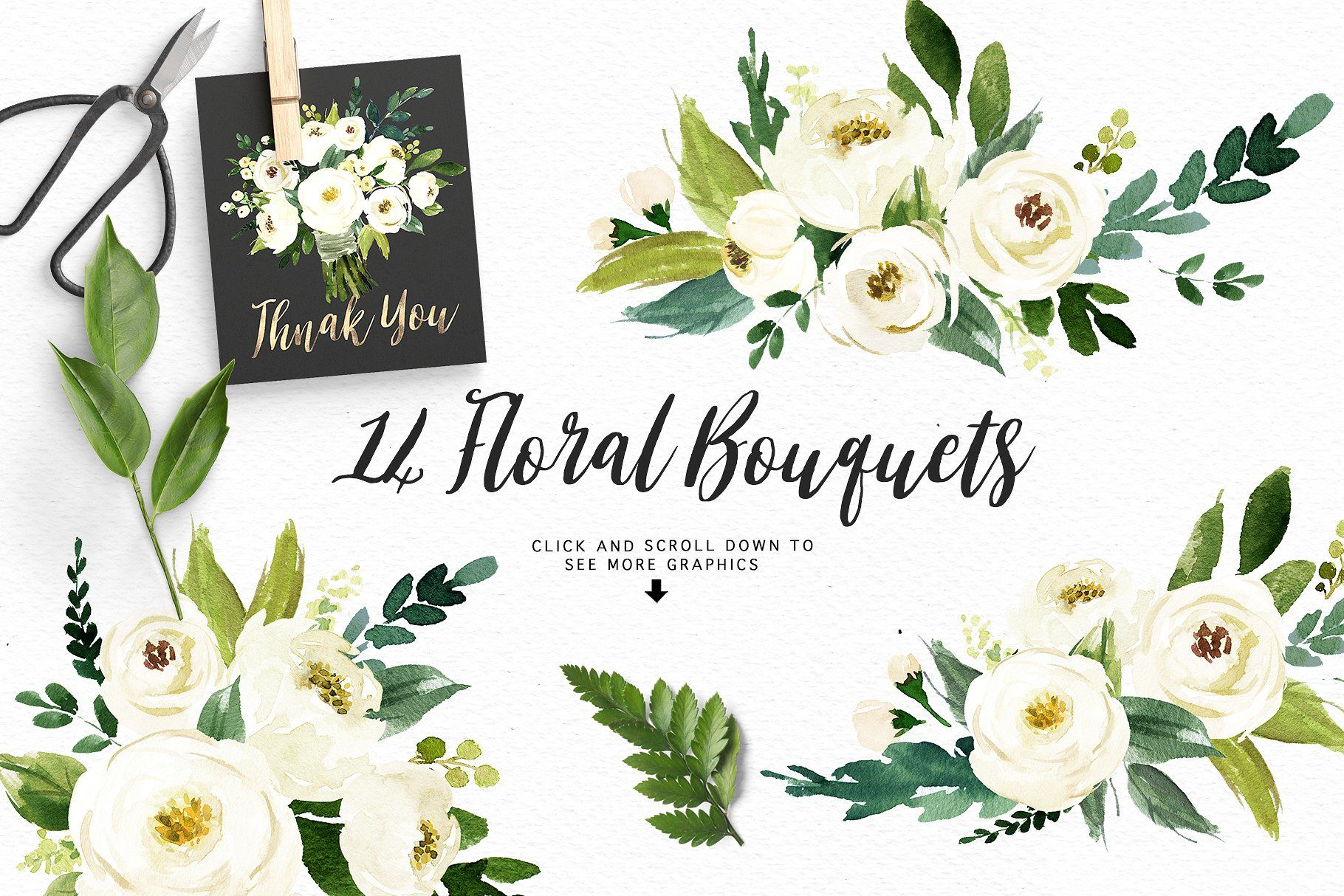 Watercolor White Flower Clip Art Flower White Watercolor