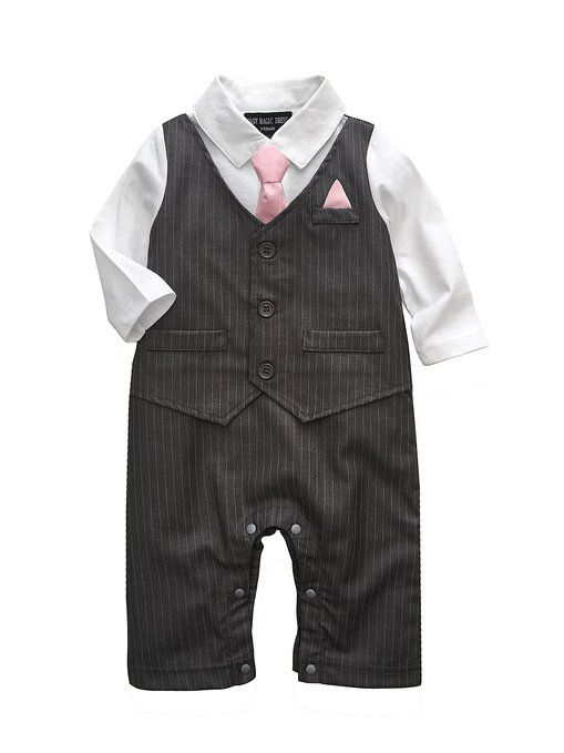 fabbfeb28 Baby Boy Wedding Tuxedo Waistcoat Design 1pc Outfit Suit (0-3 Month, Dark  Grey)