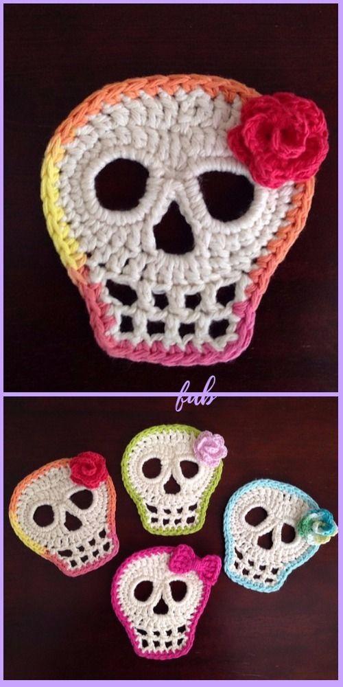 Crochet Day Of The Dead Skull Free Patterns | Cuellos tejidos ...