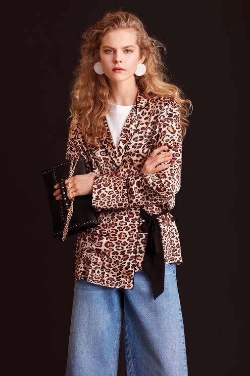 Topshop Animal print wrap pyjama shirt  04d0e9095