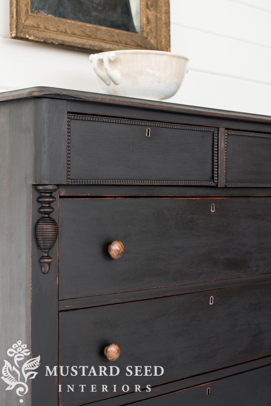 Little Black Dresser Makeover Part 4 Reveal Miss Mustard Seed Painted Bedroom Furniture Black Painted Furniture Black Chalk Paint Furniture