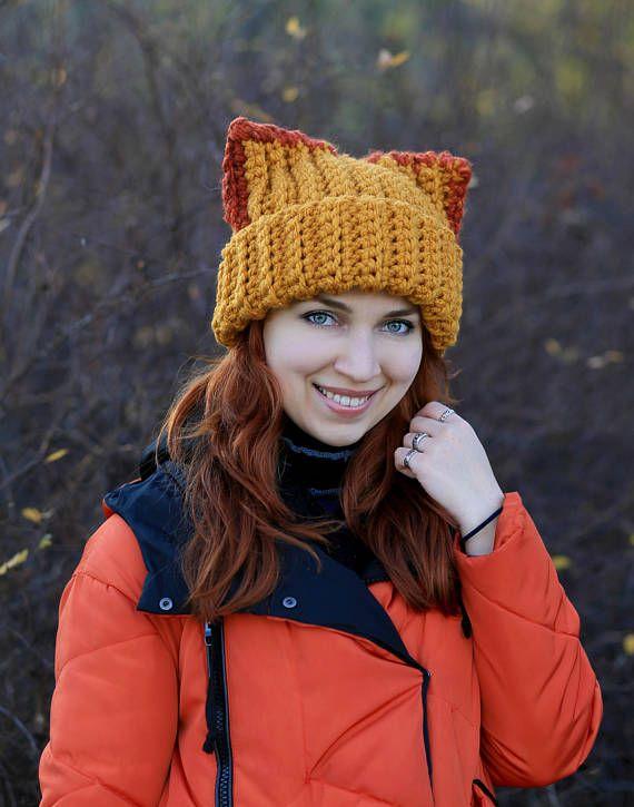 Fennec fox beanie with big ears slouchy gift animal lovers fashion dog  Adult chunky fun crochet reve e988940ed
