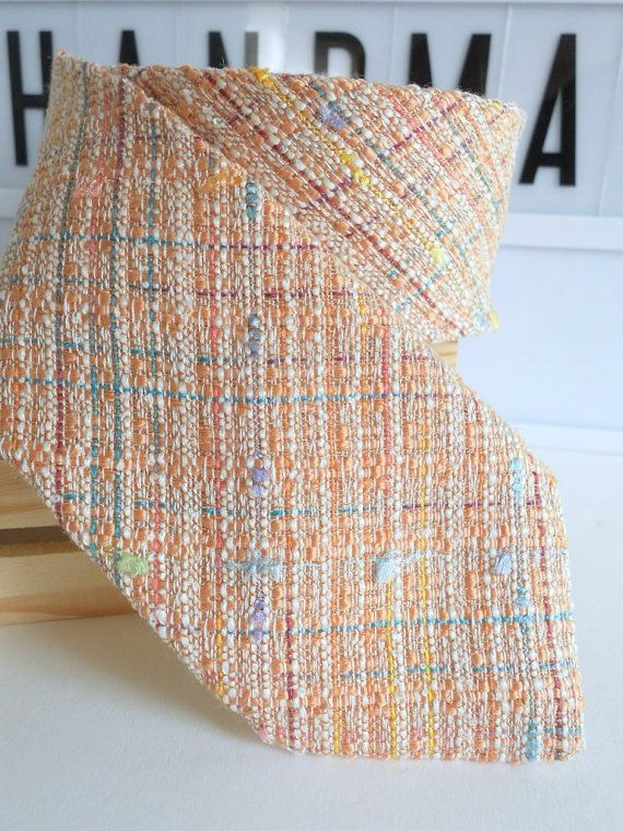 Blush Peach Tweed Neck Tie by HandsomeAndLace on Etsy