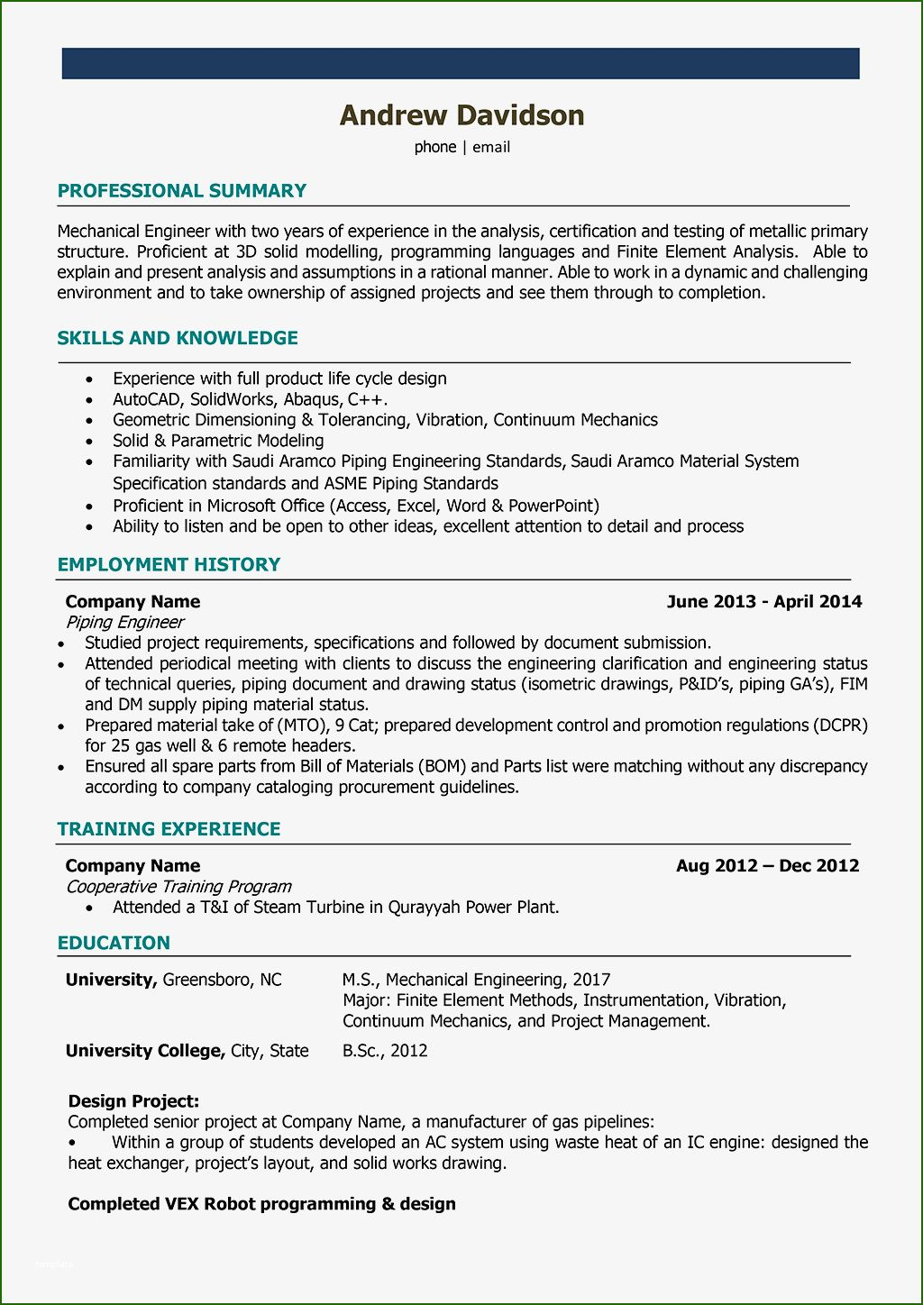 14 Fine Mechanical Engineer Resume Template in 2020