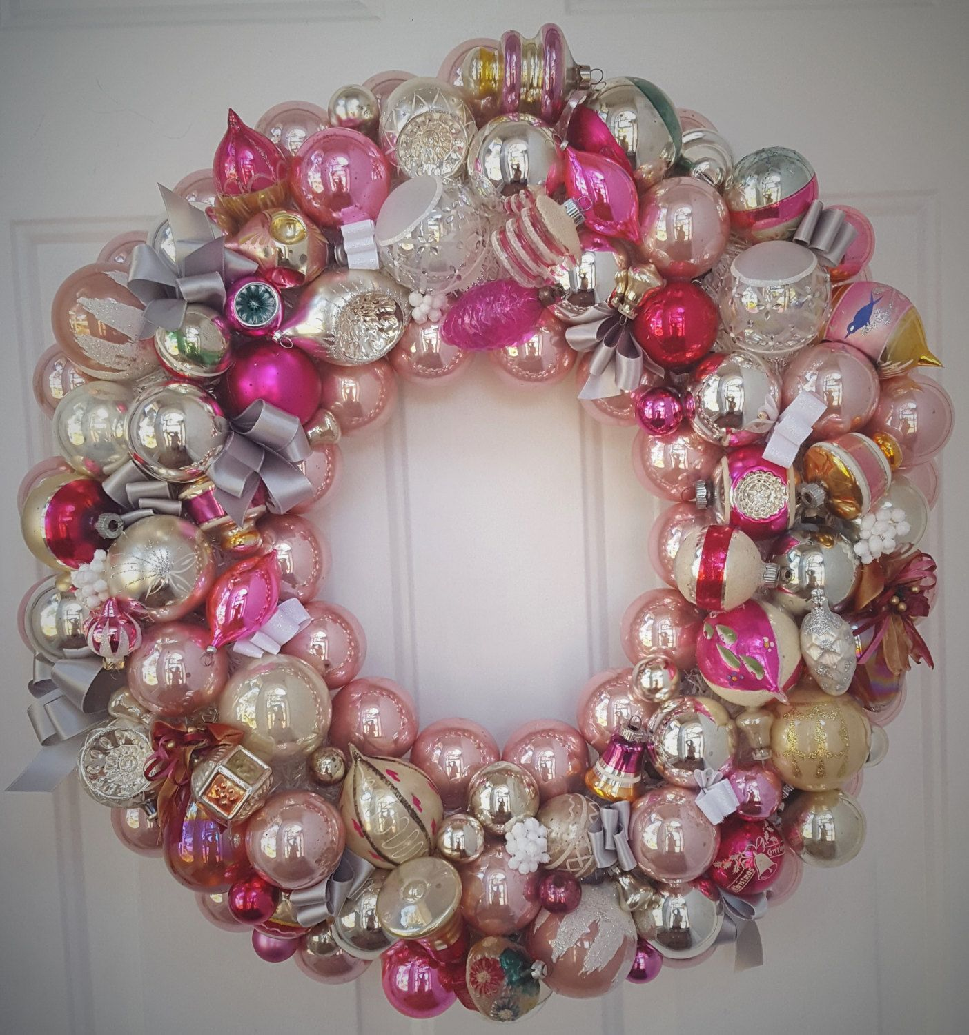 Vintage Glass Pink Christmas Ornament Wreath Hand Crafted ...