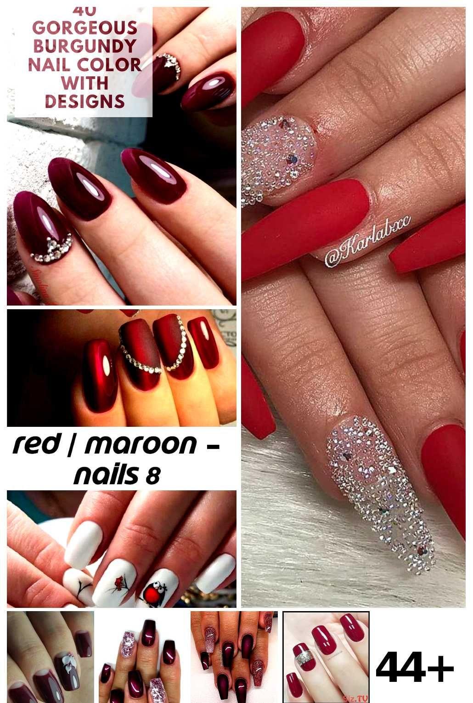 44  Maroon Nail Acrylic Ideas