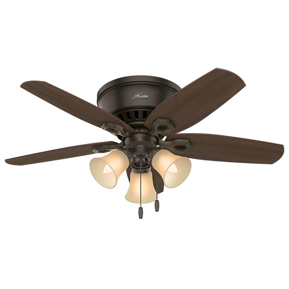 Hunter Builder Low Profile 42 In Indoor New Bronze Ceiling Fan 51091 The Home Depot Ceiling Fan With Light Ceiling Fan Bronze Ceiling Fan
