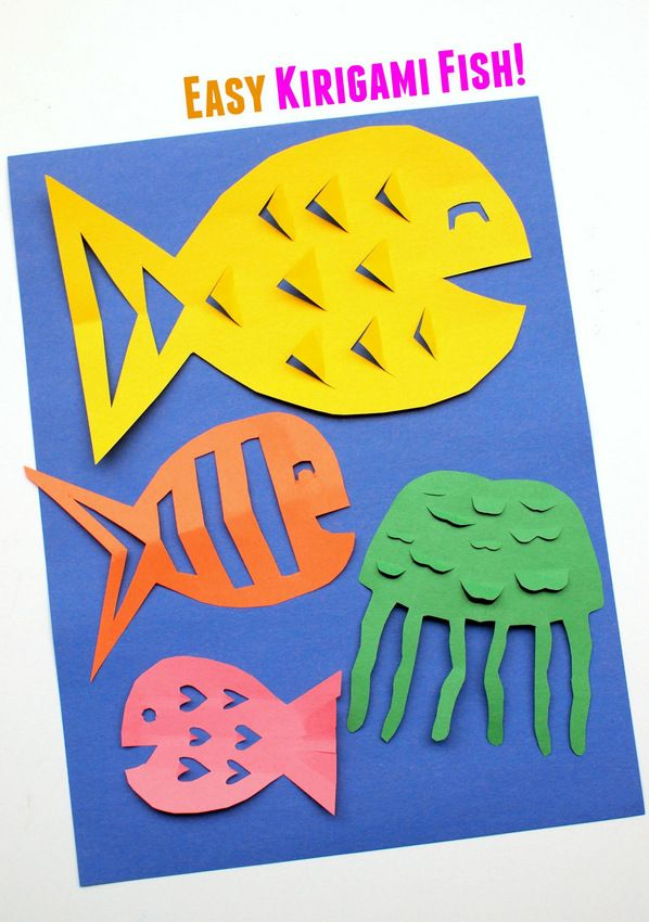 Easy kirigami fish craft ideas fish and kid for Fish crafts for preschoolers