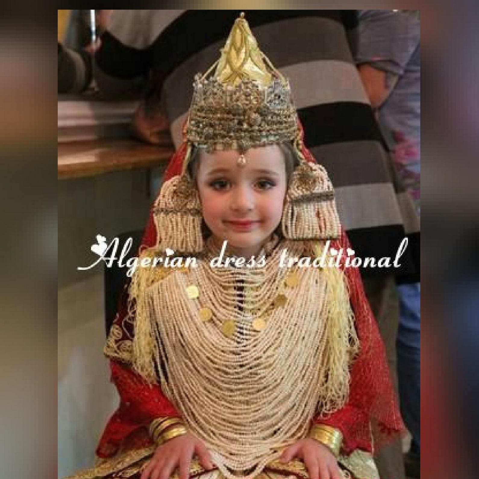 Algerian little girl wearing traditional headdress   Chedda Tlemcen ...