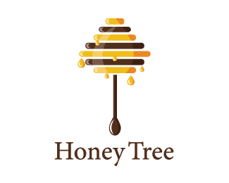 Honey stick tree Logo design - A honey stick looks like a tree with delicious honey drops. keyideas: honey stick, drops, yellow, bee farm, beewax, beekeeper, golden, flavour, ingredient, natural, nutrition, quality, tasty, products with honey, bee hive, vitamin, business.This memorable logo is great for health food store, honey farm, honey products, products with honey flavor, alternative medicine, organic food, healthy products, honey retail store, therapist, gift boutique, retailer, hon…