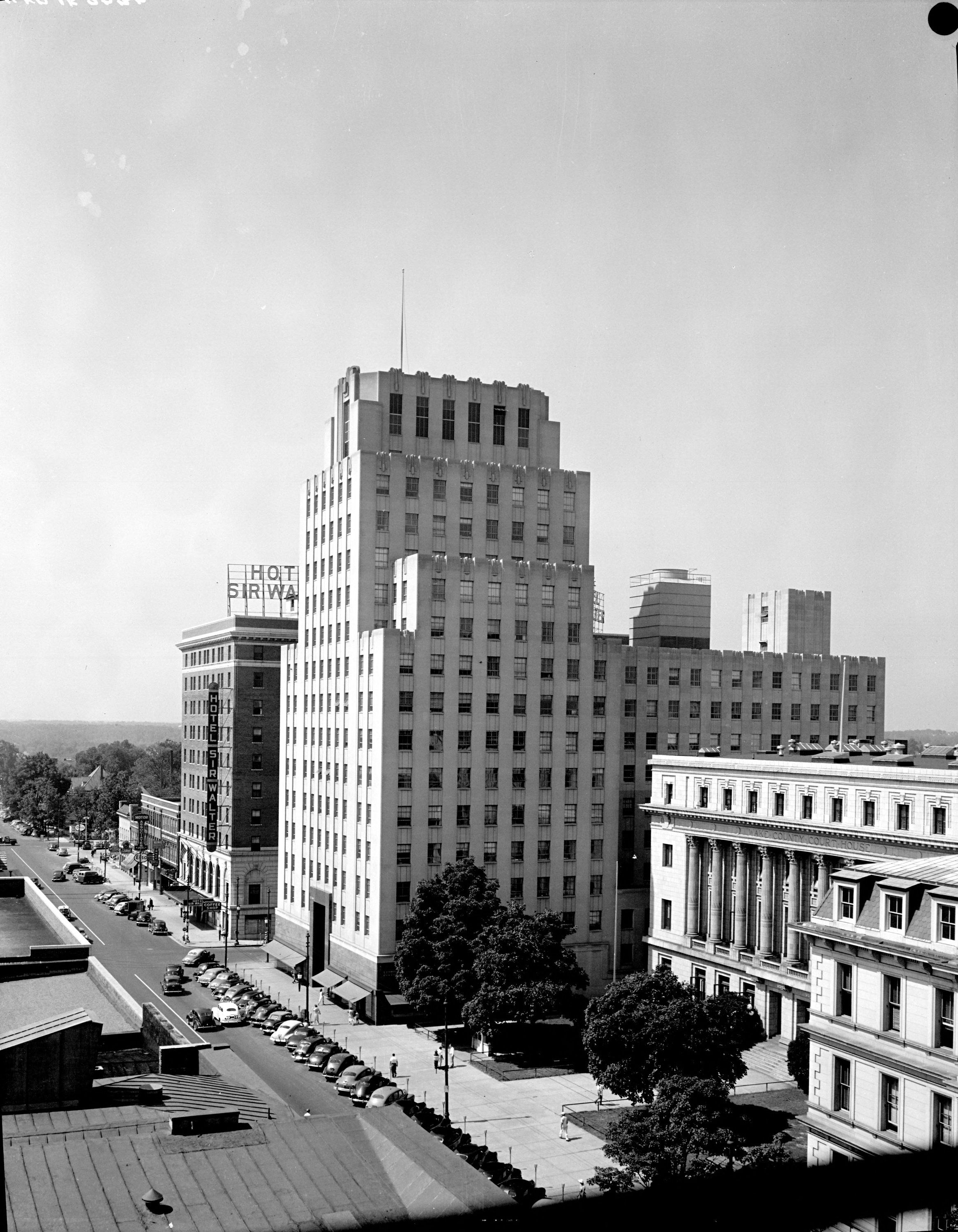 Durham Life Insurance Building Side And Front View Landscape