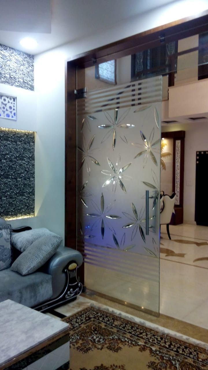 glass decoration for living room in 2020 | Glass partition ...