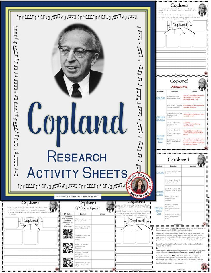 Music Composer: Aaron Copland Music Composer Study and Worksheets -  Aaron COPLAND Music Research A