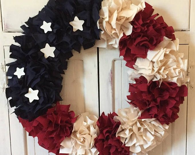 Photo of Patriotic Wreath, Rag Wreath, Americana, Rustic Shabby Decor Round  20″ July 4th