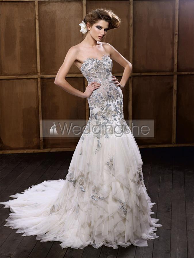 Modern Trumpet/Mermaid Floor-Length Sweetheart Lace Embellishing Wedding Dresses 2012 Spring Trends