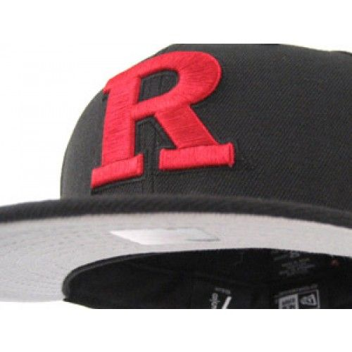 Rutgers New Era Fitted Hat (BLACK RED)  97ab607a894