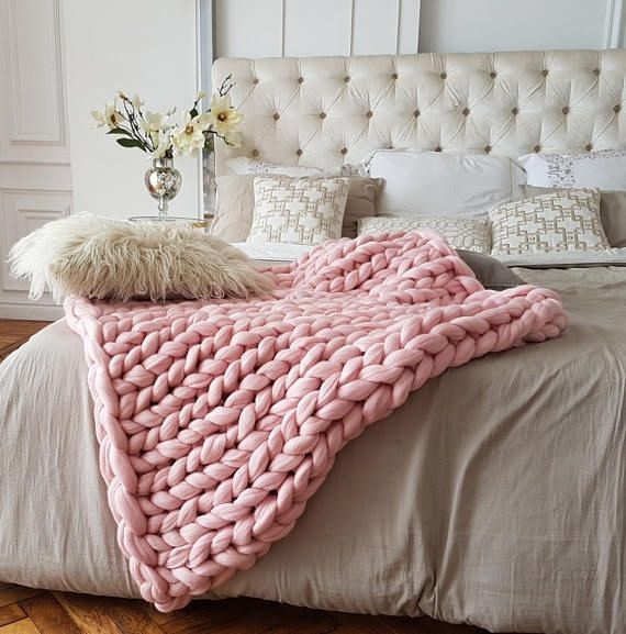 Pink Blanket Chunky Knit Blanket Pink Throw Blanket Knit Blanket Pink Chunky Knit Blanket Throw Blanket Pink Knit Blanket Blush Pink Pink Throw Blanket Pink Blanket Blanket