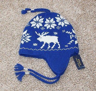 75 NEW Polo Ralph Laurn Winter Hat SHETLAND WOOL Moose beanie ear flap  Blue NWT 9c51d667af7b