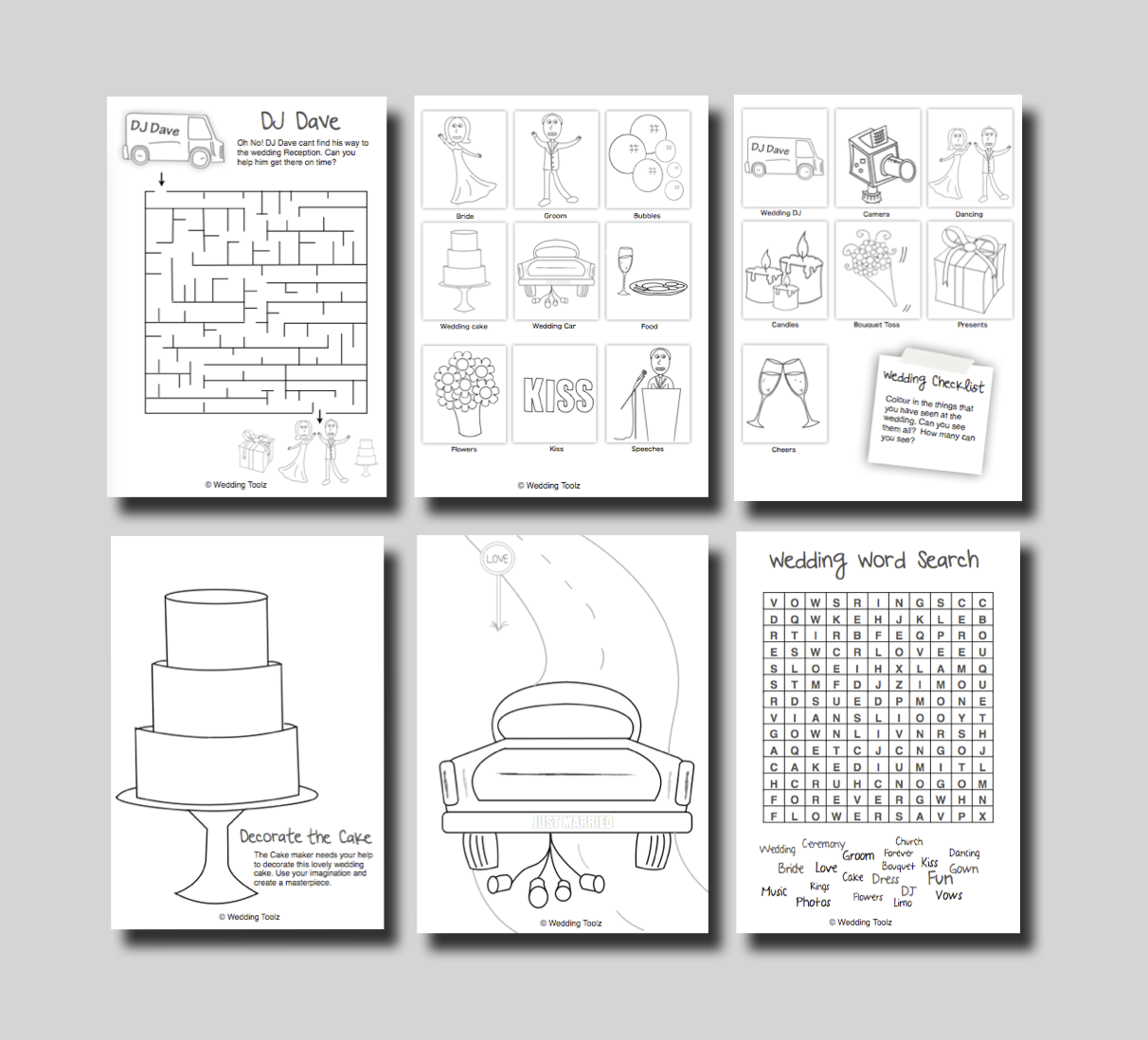 Printable Wedding Activity Pages For Pinterest