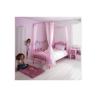 Pink 4 Poster Bed Pink Hearts Metal 4 Poster Single Bed Framefrom Homebase.co.uk .