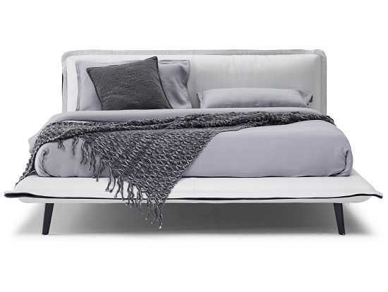 Puima King Bed In Off White Leather And Grey Fabric Bed