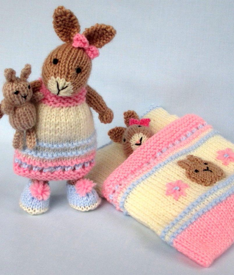 Knitting Pattern for Bedtime Bunny Set - This cute little bunny is ...