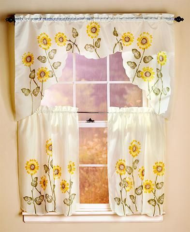 Curtain Set 3 Piece Butterfly Or Sunflower Spring Time Scalloped Trim Rod Pocket Kitchen Bath Curtains Sunflower Kitchen Sunflower Kitchen Decor