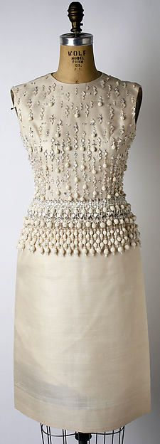 """Teheran"" Design House: House of Dior (French, founded 1947) Designer: Marc Bohan (French, born 1926) Date: spring/summer 1962 Culture: French Medium: silk, glass beads Dimensions: Length (a): 20 3/4 in. (52.7 cm) Height (b): 41 1/2 in. (105.4 cm) Length (c): 22 in. (55.9 cm)"