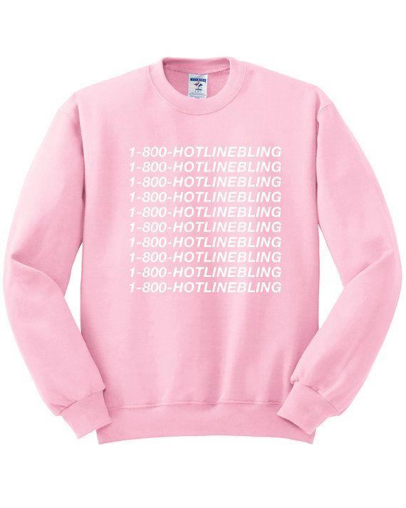 6071f0b738c 1-800-HOTLINEBLING Sweatshirt OVO Drake Sweatshirt Light Pink Hotline Bling  Shirt Unisex Size