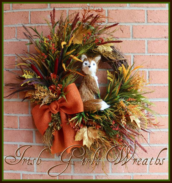 "MADE to ORDER Fox hidden in the Autumn Field XL Fall Wreath, Sisal 12"" Fox, Rustic, Large, rust, orange, burlap, cattails"