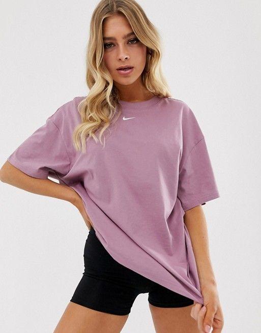 Nike Mauve Oversized Boyfriend T-Shirt | Tshirt outfit summer ...