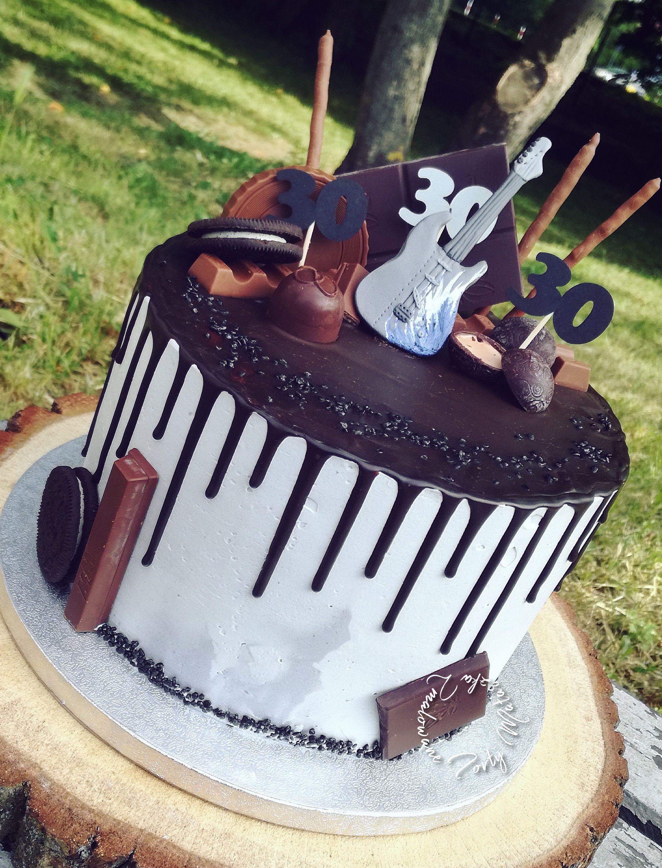 Drip guitar cake music cakes rock cake chocolate desserts