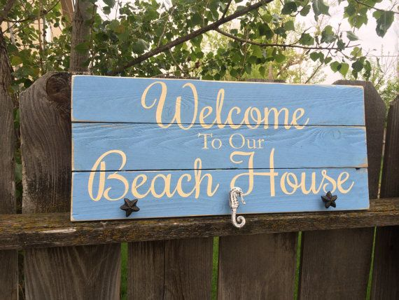 Welcome To Our Beach House Sign Home Woodsign With Saying Wood S Seahorses Starfish