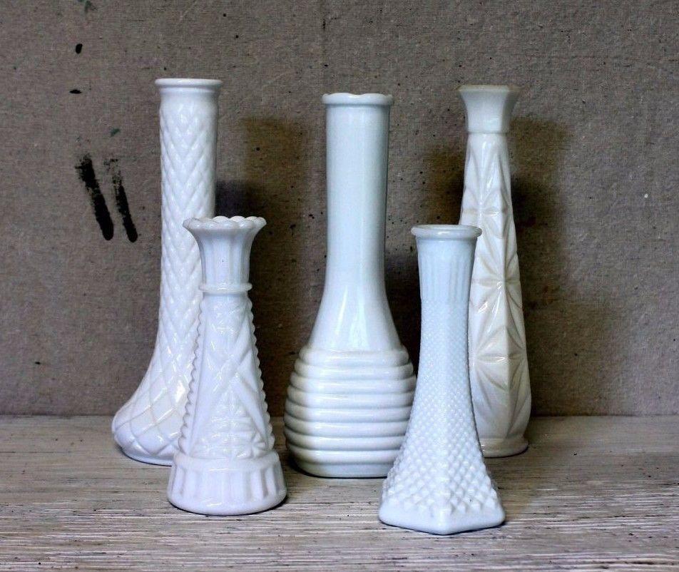 5 Vintage Milk Glass Bud Vases Lot Variety Collection Wedding