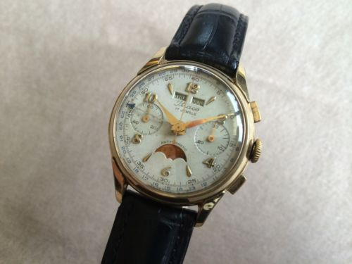 ITRACO Triple-Date Chronograph TRI COMPAX Landeron 186 Rare SERVICED!