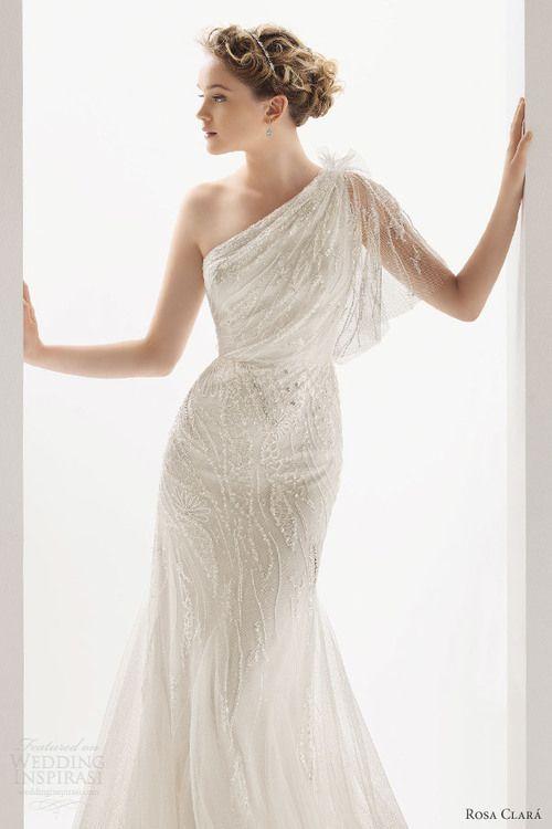 One Shoulder Wedding Dress   Wedding Dress -- oddly I rather like ...