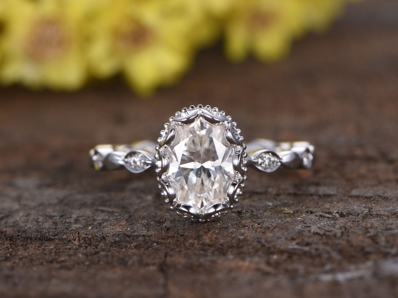 1 5 Carat Moissanite Oval Engagement Rings Diamond 14k White Gold Retro Vintage Art Deco Full Eternity Band Wedding Rings Vintage Engagement Rings Oval Fine Engagement Rings