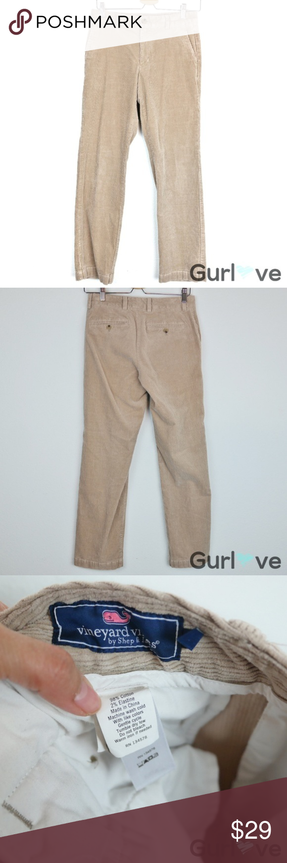 Vineyard Vines Tan Slim Corduroy Pants 28 x30 Brand: Vineyard Vines  Size: 28 x 30  Condition: Gently used  Details: Style 1P0217  Approximate Measurements:  Inseam: 30